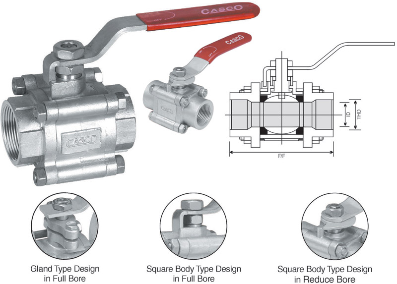 3pc Screw End Ball Valve